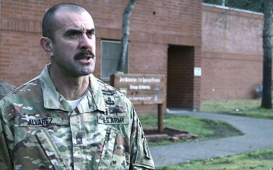 This screenshot from a Jan. 30 U.S. Army video shows Master Sgt. Jole Alvarez of 1st Special Forces Group (Airborne) based at Joint Base Lewis-McChord, Wash., discussing his reasons for completing Ranger School at age 42 in December 2018.