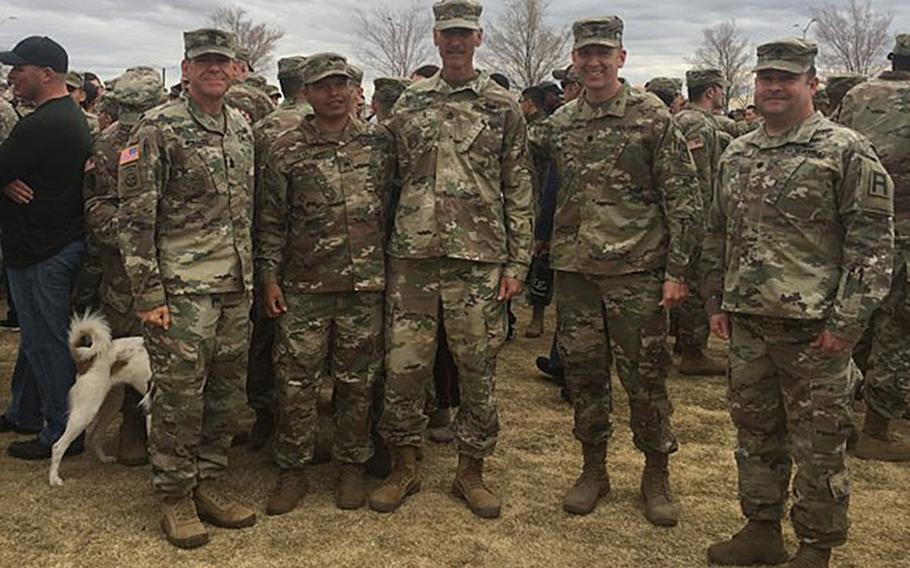 Sgt. 1st Class John Slocum, center, is pictured here after graduating from Air Assault School at Fort Bliss, Texas, at the age of 56 in December 2018. Slocum is believed to be the oldest graduate from the school.