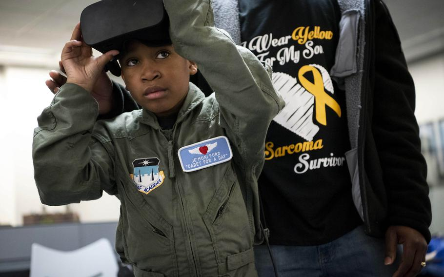 The Air Force Academy's Cadet for a Day program, in partnership with the Make-A-Wish Foundation, hosts 9-year-old Je'Moni Ford and his family, Friday, March 15, 2019. Since 2000, the Cadet for a Day initiative has provided young people facing severe medical challenges with the opportunity to experience life as a cadet.