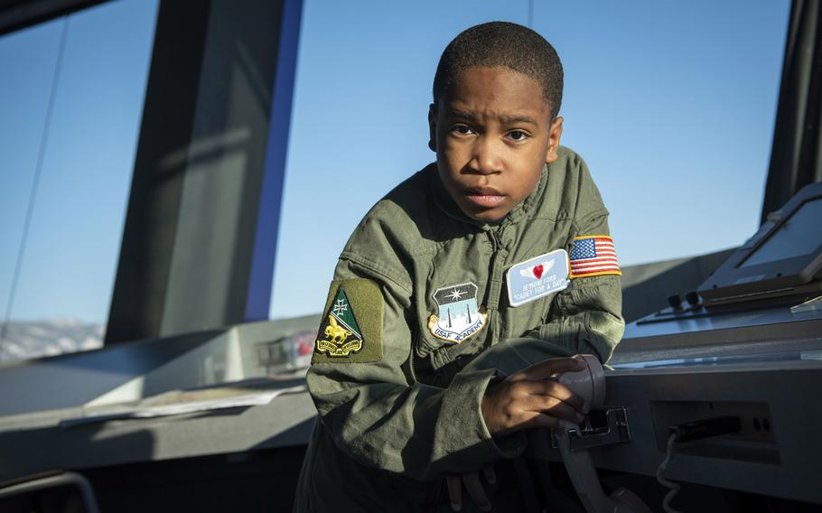 The Air Force Academy's Cadet for a Day program, in partnership with the Make-A-Wish Foundation, hosts 9-year-old Je'Moni Ford and his family, Friday, March 15, 2019.  Je'Moni was diagnosed with a rare form of cancer in 2017 and endured six surgeries to remove the cancer and reconstruct his hand.