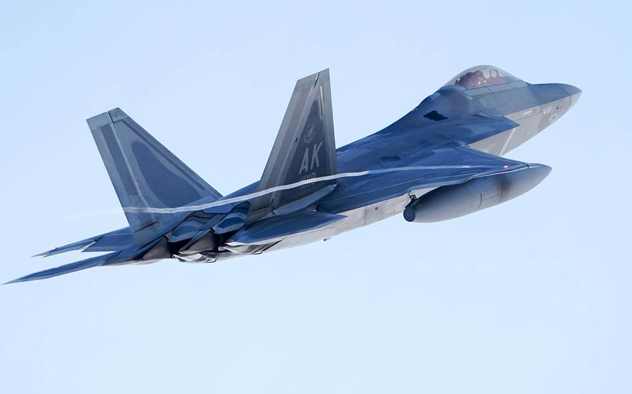 An F-22 Raptor takes off from Joint Base Elmendorf-Richardson, Alaska, after an elephant walk, Tuesday, March 26, 2019.