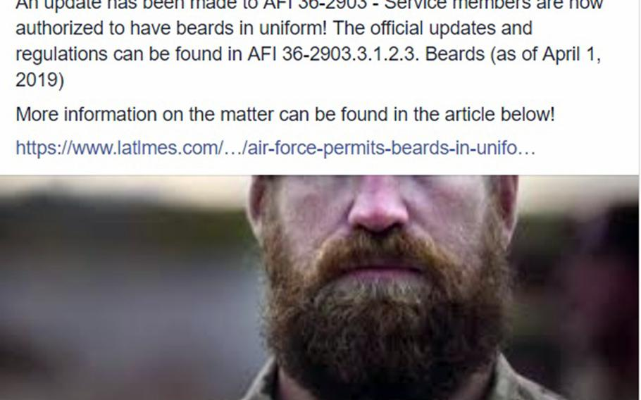 An April Fools' Day Facebook post by Andersen Air Force Base, Guam, announced that the service had authorized airmen to grow beards.