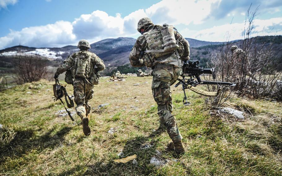 U.S. Army paratroopers assigned to 1st Battalion, 503rd Infantry Regiment, 173rd Airborne Brigade, run to their firing position during exercise Eagle Sokol 19, at Pocek Training Area, Slovenia, March 26, 2019.