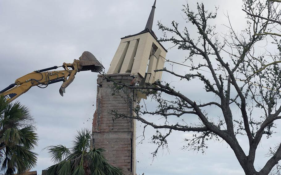 The chapel steeple at Tyndall Air Force Base, Fla., is demolished Feb. 15, 2019, four months after Hurricane Michael severely damaged the base.