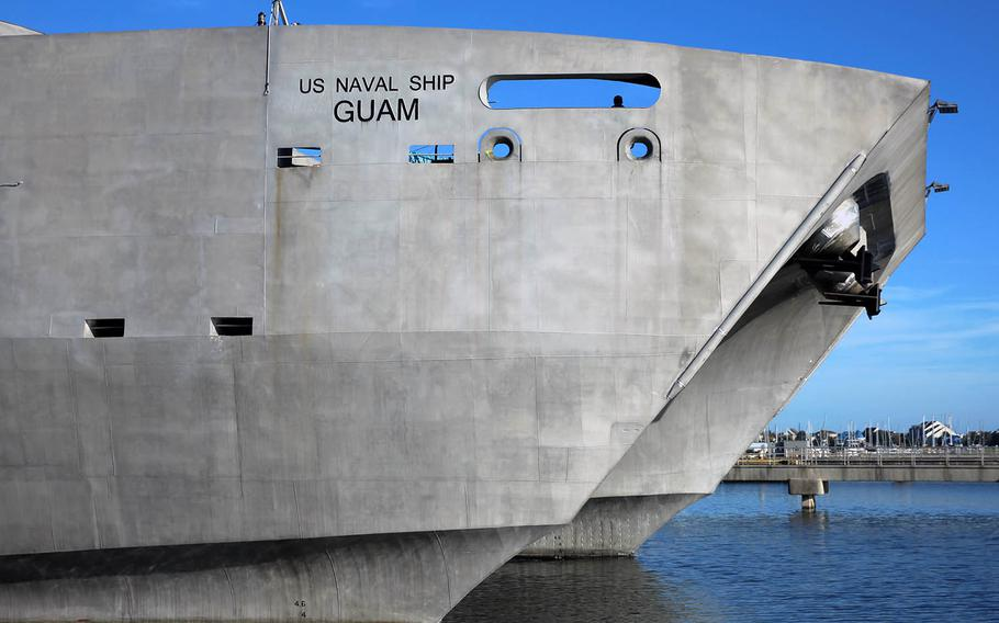 The USNS Guam underwent testing and evaluation at Norfolk, Va., as shown here on Oct 5, 2017.