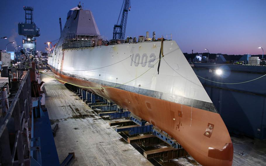 Scheduled for christening Saturday, April 27, 2019, the USS Lyndon B. Johnson was built at Bath Iron Works, Maine, as shown here on Dec. 9, 2018.