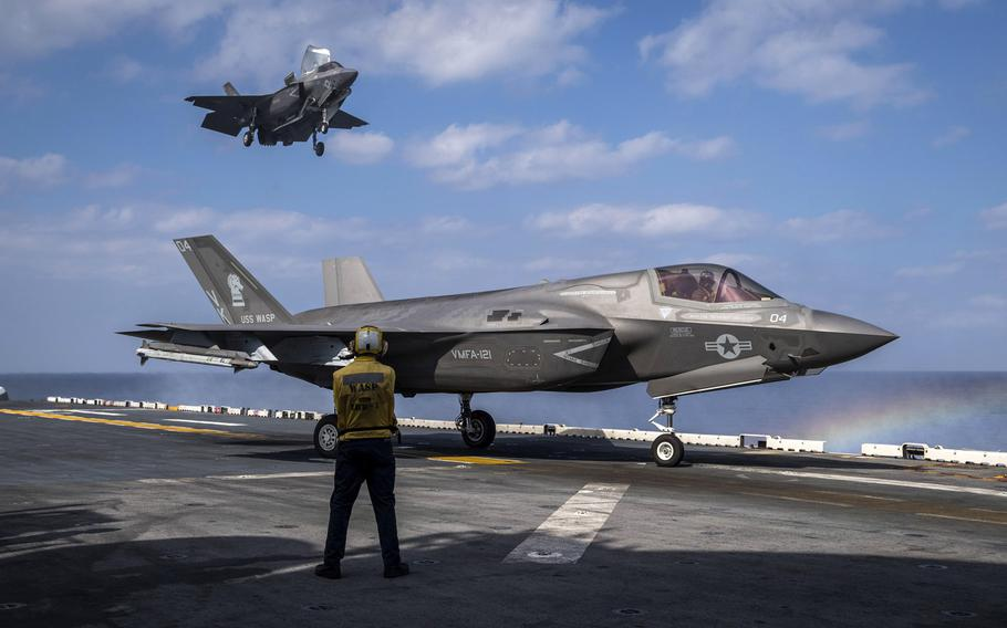 An F-35B Lightning II aircraft  prepares to land behind another F-35B on the flight deck of the amphibious assault ship USS Wasp during operations in the Philippine Sea, Feb. 2, 2019. A shortage of spare parts in the F-35 supply chain has reduced the jet?s mission readiness, a government watchdog has found.  Sarah Myers/U.S. Navy