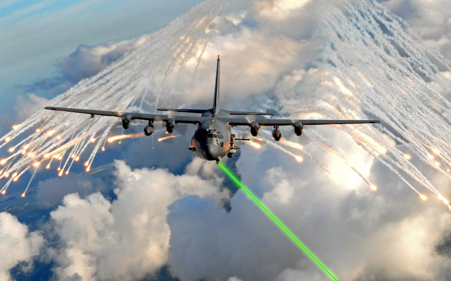 The Air Force aims to install laser-based defense systems on planes by 2021, similar to this illustration. During a series of tests at White Sands Missile Range, N.M., April 23, 2019, the Demonstrator Laser Weapon System, acting as a ground-based test surrogate for the Self-Protect High Energy Laser Demonstrator system, shot down several air-launched missiles in flight.