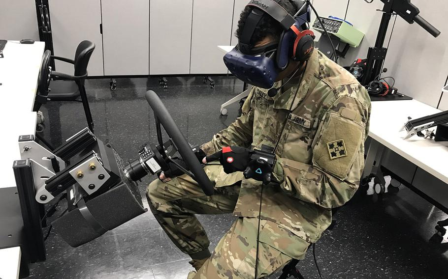 A soldier at Fort Riley, Kan., operates the Army's prototype for a reconfigurable virtual trainer during an assessment in April.