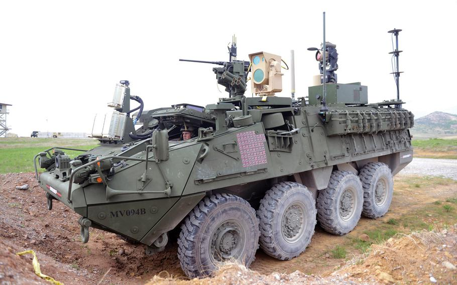 A Stryker equipped with a mobile experimental high-energy laser shot small fixed- and rotary-wing drones out of the sky using a five kilowatt fiber laser in April 2017 at Fort Sill, Okla., a first for the Army. The Army wants to add 50 kW lasers to Stryker vehicles by 2022.