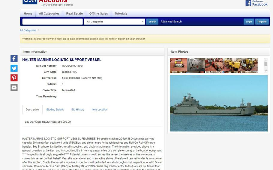 The General Services Administration website shows a Halter marine logistic support vessel for sale, Aug. 5, 2019. The Army has suspended plans to shut down its watercraft units and auction off ships while a congressional review is ongoing.