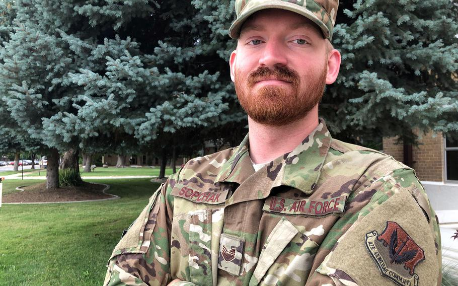 Staff Sgt. Garrett Sopchak, 28, of the 388th Maintenance Squadron at Hill Air Force Base, Utah, embraces Norse Heathenism, a belief system whose pantheon includes the gods Odin and Thor. He received a beard waiver on July 8, 2019.