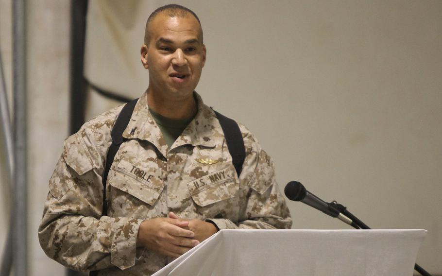 Navy Capt. Theron Toole speaks at Camp Leatherneck, Afghanistan, Oct. 13, 2012.