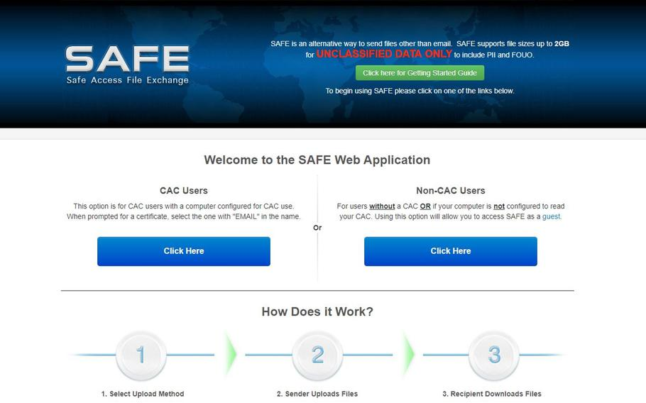 The Defense Department website AMRDEC SAFE, used for transferring large files, will soon be replaced by a new, more secure site dubbed DOD SAFE, operated by the Defense Information System Agency.