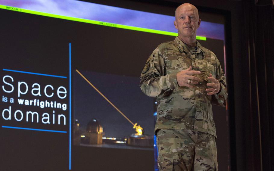 Gen. John W. Raymond, the commander of Air Force Space Command and the Joint Force Space Component Command, at an all-call on July 2, 2019, at Vandenberg Air Force Base, Calif. R