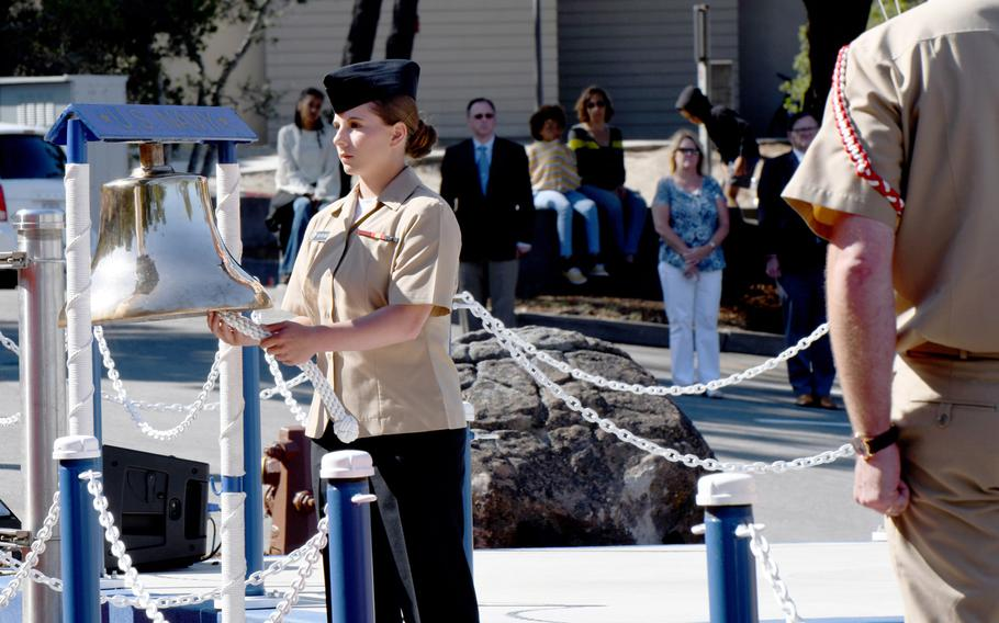 A section of of California's Presidio of Monterey, home of the Defense Language Institute, is dedicated on Wednesday, Aug. 21, 2019, in memory of linguist Senior Chief Shannon M. Kent. The mother of two and cancer survivor was one of four Americans and over a dozen locals killed in a suicide bombing in Manbij, Syria in January.