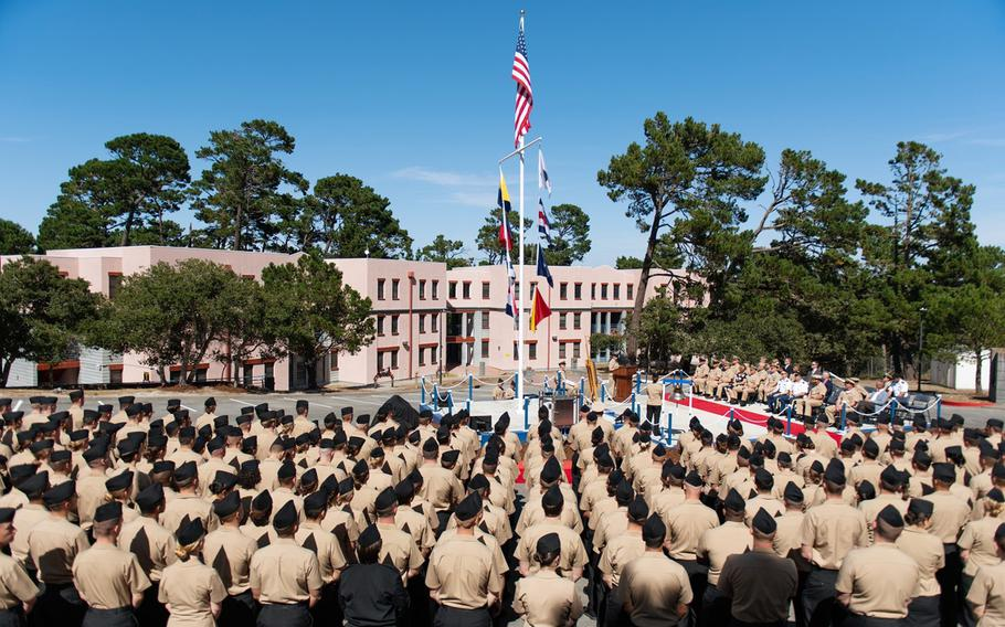 Sailors attached to Information Warfare Training Command Monterey stand in formation during a ceremony on Wednesday, Aug. 21, 2019, at the Presidio of Monterey to dedicate the command training stage and surrounding buildings in honor of Senior Chief Shannon Kent.