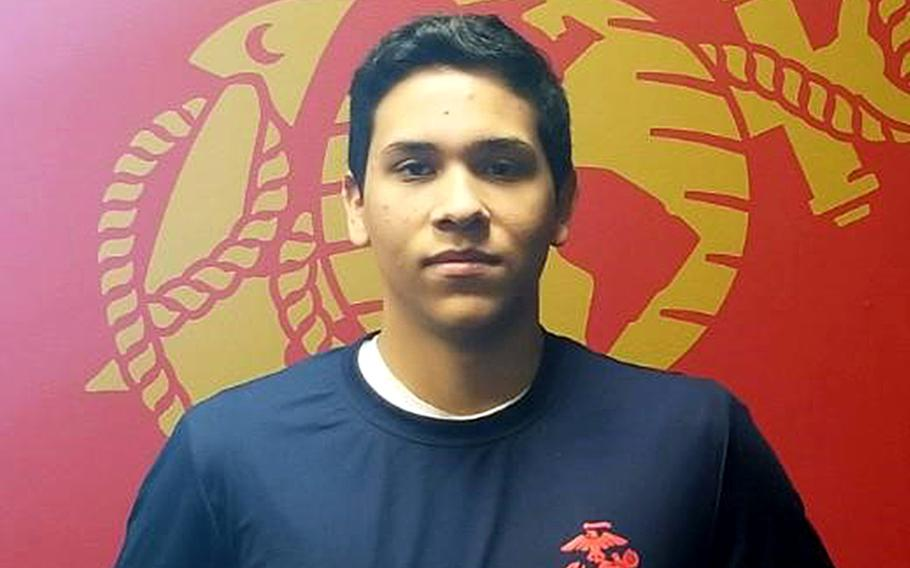 """Marine """"poolee"""" Jose Rodriguez, 18, collapsed while taking a fitness test at a Frederick, Md. recruiting station on Aug. 21. He died at a Frederick hospital two days later."""