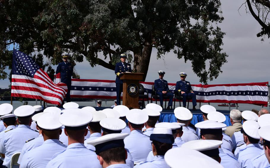 Coast Guard Vice Adm. Linda Fagan, Pacific Area commander, speaks during a ceremony on Coast Guard Island in Alameda, Calif., Sept. 3, 2019, prior to posthumously presenting Purple Heart medals to the families of two Coast Guardsmen who died when the Coast Guard Cutter Tampa was sunk by a German U-boat on Sept. 26, 1918.