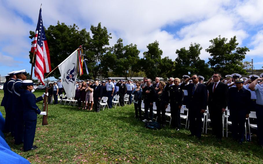 Coast Guard Base Alameda color guard members present the colors following a ceremony on Coast Guard Island in Alameda, Calif., Sept. 3, 2019. The service posthumously presented Purple Heart medals to families of two Coast Guardsmen who died when the Coast Guard Cutter Tampa was sunk by a German U-boat in Sept.1918.