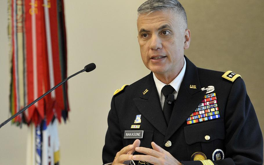 """Army Gen. Paul M. Nakasone, commander of U.S. Cyber Command, speaks at the Association of the U.S. Army's """"Hot Topics"""" forum in Arlington, Va., Sept. 16, 2019."""