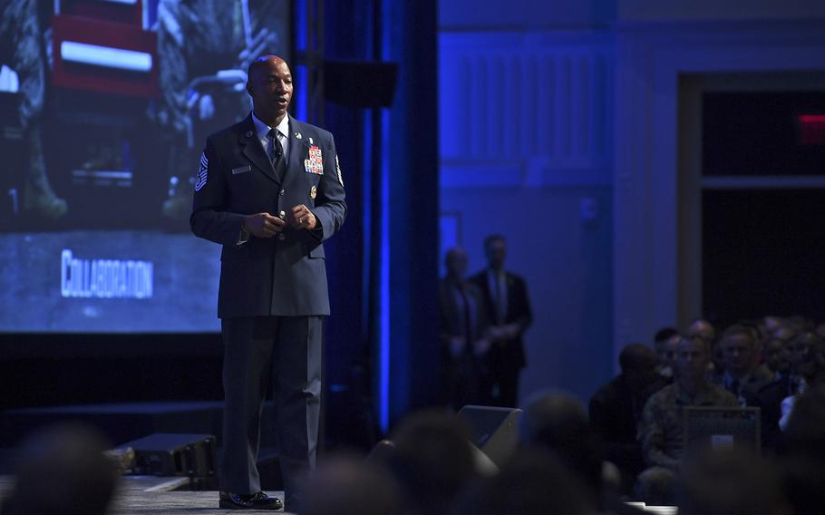 Chief Master Sgt. of the Air Force Kaleth O. Wright delivers a speech during the Air Force Association Air, Space and Cyber Conference in National Harbor, Md., Sept. 18, 2019.