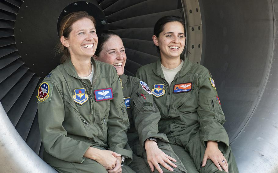 Left to right: Capt. Rebecca Gooch, a KC-135 Stratotanker instructor pilot; Master Sgt. Samantha Converse, a KC-135 instructor/evaluator boom operator; and Maj. Alexandra Trana, a KC-135 instructor pilot, pose at Alliance Airfield in Fort Worth, Texas, Sept. 18, 2019.
