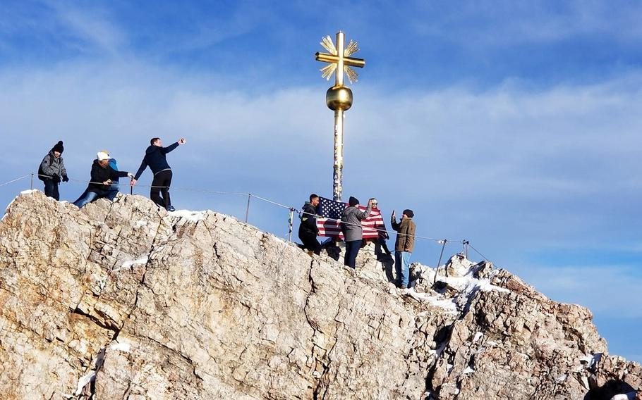 Army Staff Sgt. Stephen Mix re-enlists atop Germany's highest peak, Zugspitze, Nov. 9, 2018.