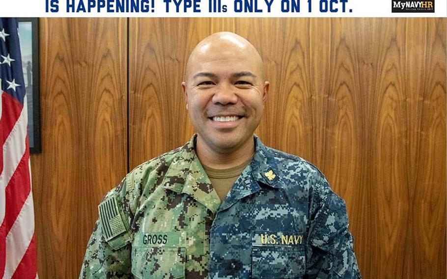 In an image from the Navy's Chief of Naval Personnel Facebook page, a sailor poses in both Type I and III Navy working uniforms. The Type 1 uniform, informally dubbed a blueberry, will no longer be authorized for wear starting October 1, 2019.