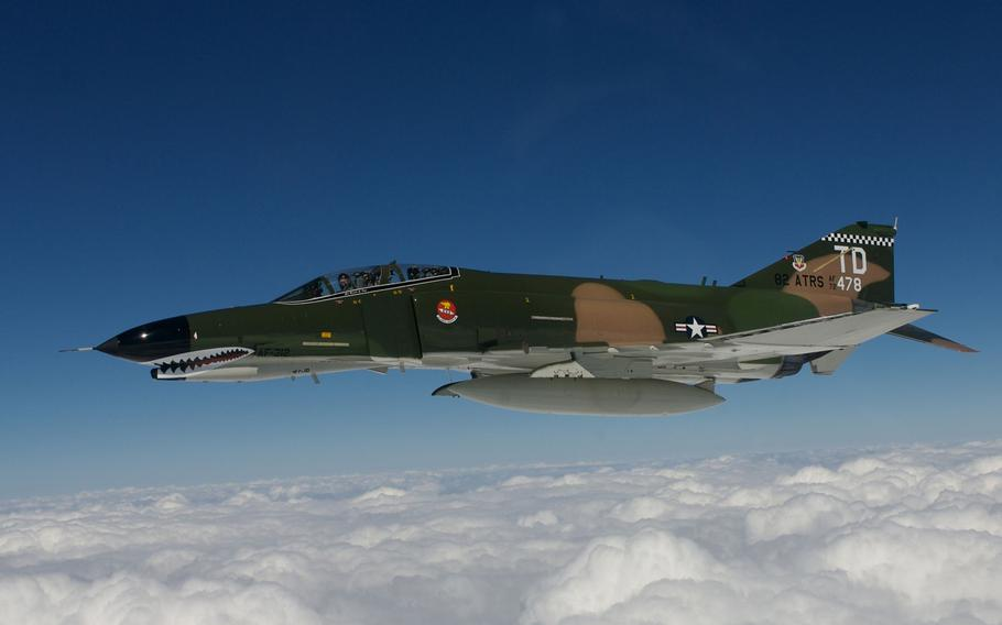 Gen. Ronald E. Keys, head of Air Combat Command, and Lt. Col. J.D. Lee fly an F-4 Phantom II on Sept. 28, 2007, during the final flight of Key's 40-year military career.  The F-4 has been retired from front line squadron service in the U.S. and is being phased out around the world.