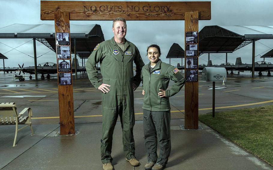 Maj. Nick Harris, left, an instructor pilot with the 25th Flying Training Squadron at Vance Air Force Base, Okla., and Capt. Jessica Wallander, an instructor pilot with the 3rd Flying Training Squadron at Vance, were both outside the Air Force height requirements for pilots. They qualified through the anthropometric waiver process.