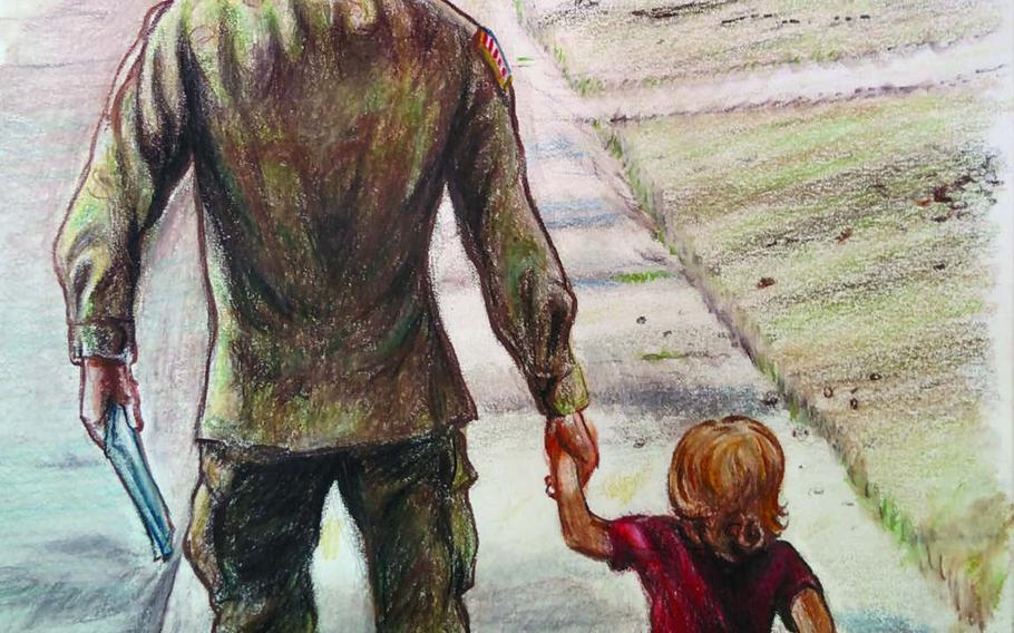 An illustration from the book ''Brave for My Family,'' drawn by Green Beret officer Dave Whetstone, depicts the soldier with his son Davidson — the book's author, who was 3 at the time — before he deployed to Afghanistan in 2013.