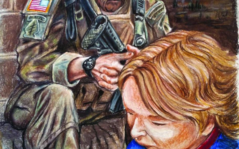 Davidson Whetstone and his Green Beret father Dave, author and illustrator, respectively, of the new book ''Brave for My Family,'' are depicted in this illustration praying.