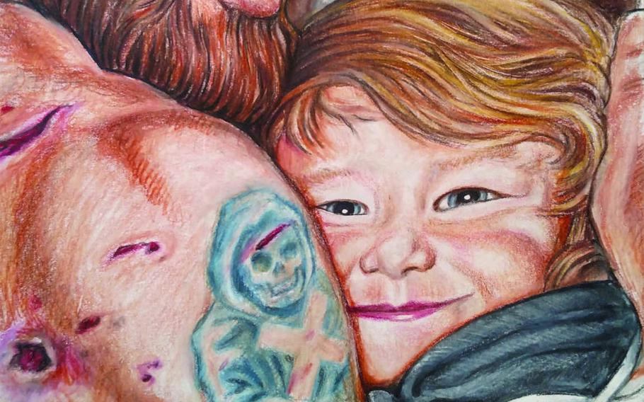 The moment when 3-year-old Davidson Whetstone hugged his combat-wounded father at Walter Reed National Military Medical Center in 2013 is depicted in this illustration from a book Davidson wrote when he was 6. Davidson's father illustrated the book, which was published last month.