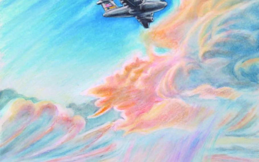 An illustration from Davidson Whetstone's book shows a military aircraft taking his father, Dave, back to Afghanistan on a Special Forces deployment after recuperating from wounds he received in combat in 2013.