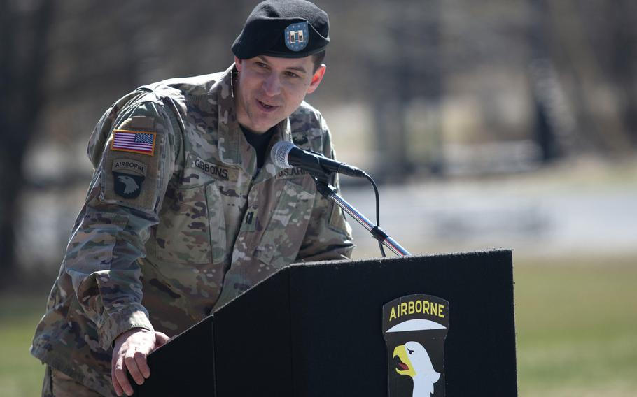 Incoming commander of the Sabalauski Air Assault School, Capt. Kevin Gibbons, gives a speech during his change of command ceremony, March 6, 2019. A recently published Rand Corp report says company-level leaders work an average of 12.5 hours a day.