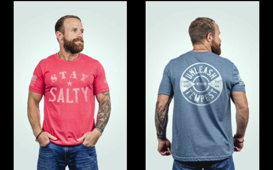 Former Navy SEAL Eddie Gallagher models items from his new apparel line, Salty Frog Gear, in this screenshot from the brand's webpage.