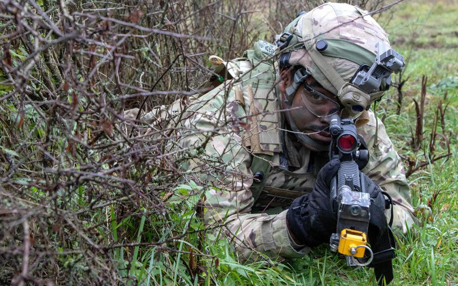 Sgt. Jeffrey Pettigrew, 2nd Cavalry Regiment, provides security during a simulated attack at the Dragoon Ready exercise in Hohenfels, Germany, Nov. 5, 2019. The regiment will soon be heading to Poland to take over a NATO mission from the Tennessee National Guard.