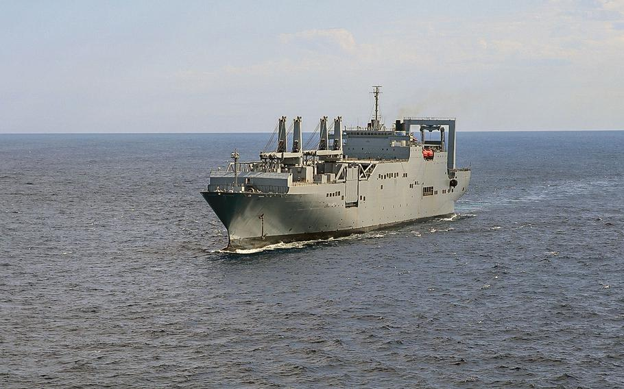 The large roll-on/roll-off vessel USNS Gilliland participates in a group sail during Turbo Activation in September 2019. The Defense Department Inspector General said in a report released Friday, Jan. 24, 2020 that Military Sea Lift Command inaccurately reported the readiness of reserve transport ships, which are crucial for transporting large volumes of combat gear in a crisis.