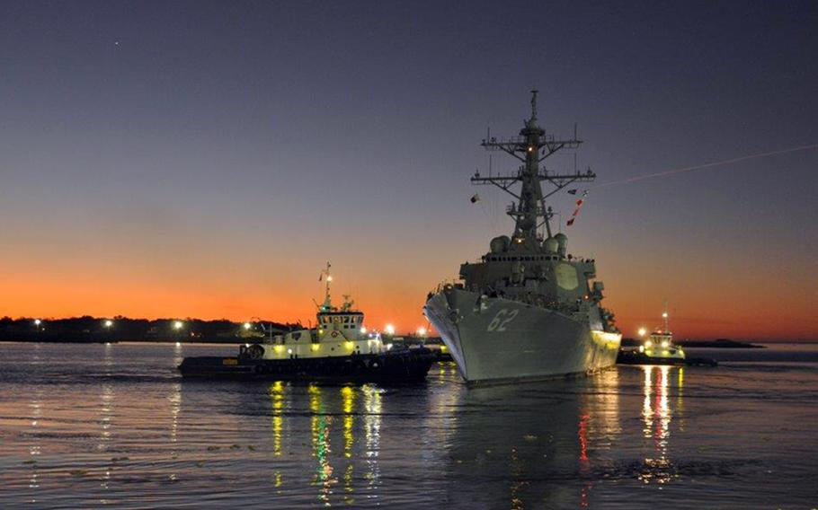 The USS Fitzgerald departs a shipyard in Pascagoula, Miss., for comprehensive at-sea testing, Tuesday, Feb. 3, 2020. Seven sailors were killed aboard the guided-missile destroyer when it collided with a commercial vessel near Japan on June 17, 2017.