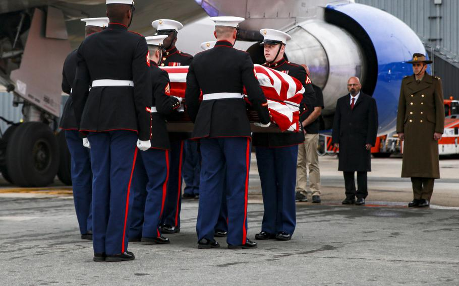 Marine Corps Base Quantico Ceremonial Platoon provided honors for Lt. Col. Paul C. Hudson at Dulles International Airport, Sterling Va., Feb. 5, 2020, after his body was returned from Australia. Hudson was one of three Americans killed in January 2020 when their C-130 Hercules Aerial Water Tanker crashed while battling wildfires in Australia.