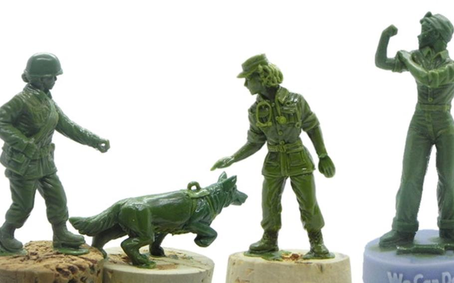 Early sculpts of the military working dog handler, dog, nurse and Rosie the Riveter figures, to be released with a line of crowd-funded plastic army women from BMC Toys are pictured here.