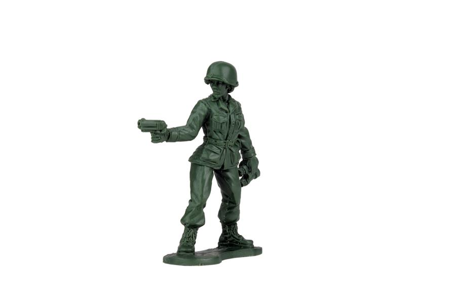 A resin cast Pathfinder captain figure, designed for a line of plastic green Army women due out in late 2020.