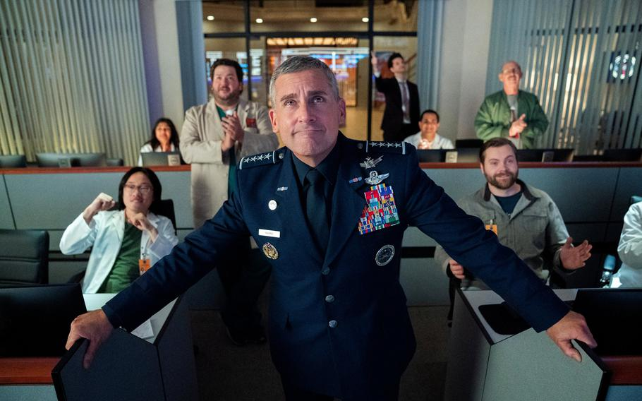 """Steve Carell stars in """"Space Force,"""" a workplace comedy set to debut on Netflix, May 29, 2020."""