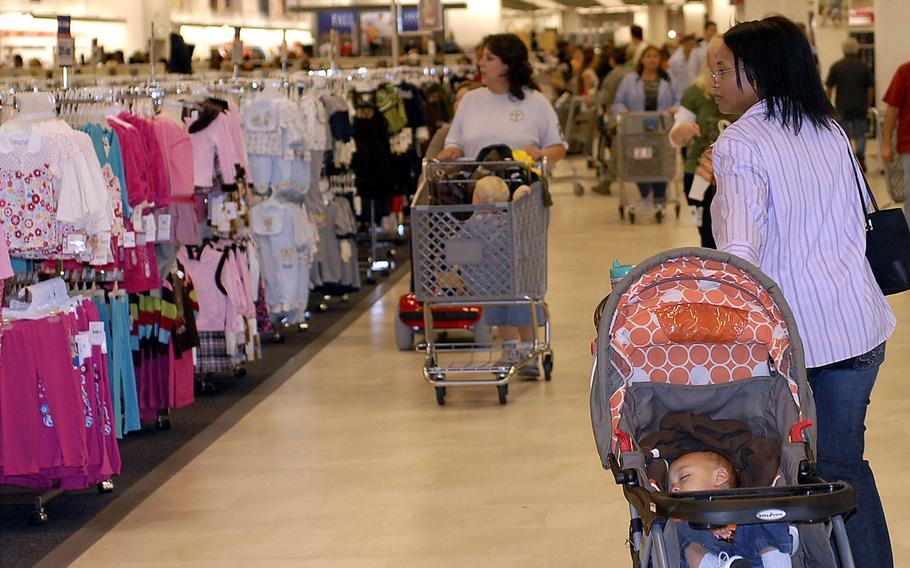 People shop at the Kaiserslautern Military Community Center's base exchange at Ramstein Air Base, Germany. The Army and Air Force Exchange Service is extending its return policy for shoppers through July 1, 2020.