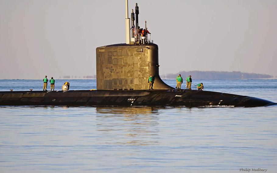 An undated photo on the commissioning committee Facebook page shows the USS Vermont, the Navy's newest Virginia-class submarine, prior to its commissioning in Connecticut on April 18, 2020.