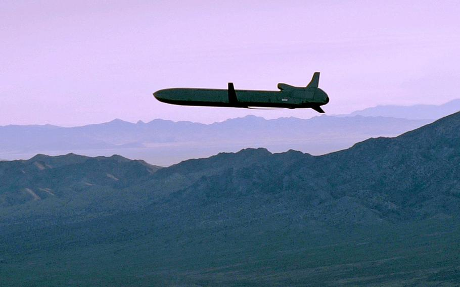 An unarmed AGM-86B Air-Launched Cruise Missile maneuvers over the Utah Test and Training Range en route to its target, Sept. 22, 2014. The Air Force has selected Raytheon Co. to continue development of its next generation air-launched nuclear cruise missile to equip its B-52 and B-21 bombers.