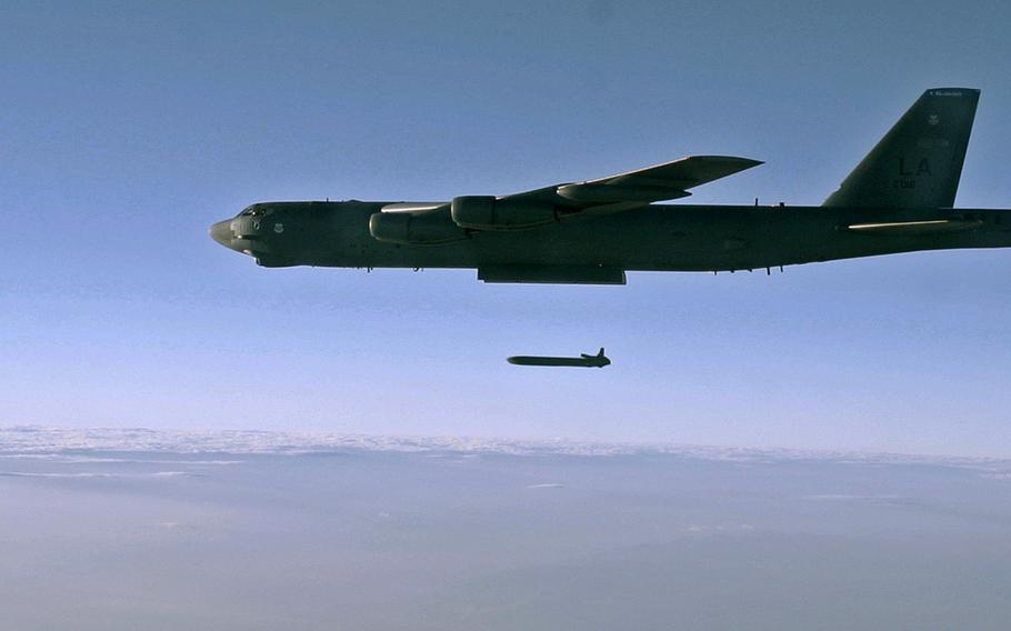 An unarmed AGM-86B Air-Launched Cruise Missile is released from a B-52H Stratofortress, Sept. 22, 2014, over the Utah Test and Training Range. The Air Force has selected Raytheon Co. to continue development of its next generation air-launched nuclear cruise missile to equip its B-52 and B-21 bombers.