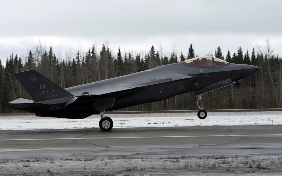 An F-35A Lightning II stealth fighter lands at Eielson Air Force Base, Alaska, April 21, 2020. It is the first of two to arrive that will be joined by another 52 by the end of 2021.