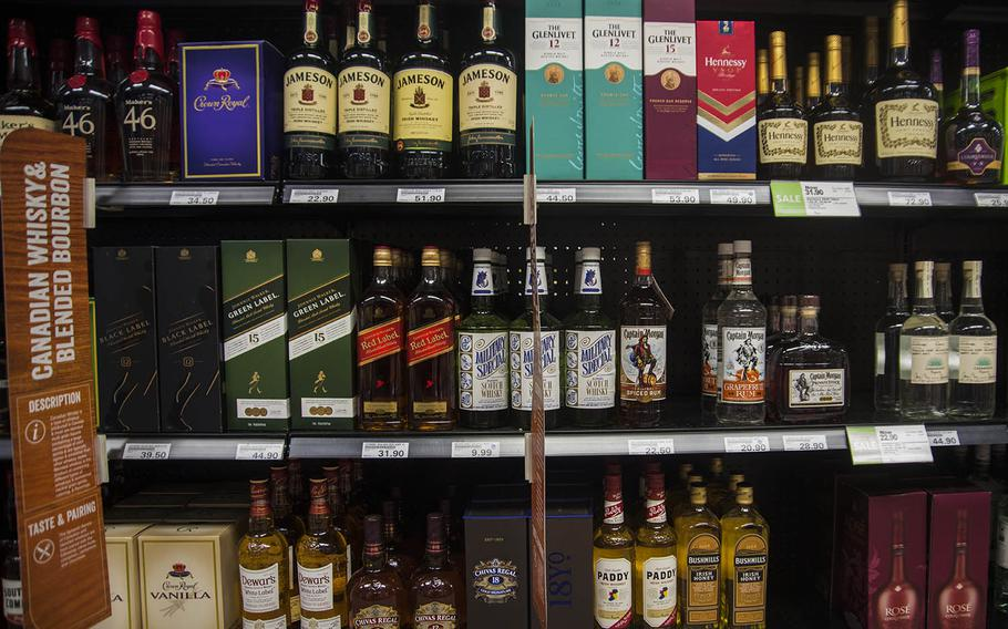 Alcoholic beverages for sale at an exchange store at Yokota Air Base, Japan, Thursday, April 23, 2020.